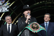 "In this handout image provided by Hublot Ricardo Guadalupe, Mauricio Sulaiman (R) and Carlos Santana (C) attend the Hublot x WBC ""Night of Champions"" Gala at the Encore Hotel on May 03, 2019 in Las Vegas, Nevada."