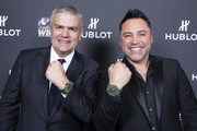 "In this handout image provided by Hublot, Ricardo Guadalupe and Oscar de la Hoya attend the Hublot x WBC ""Night of Champions"" Gala at the Encore Hotel on May 03, 2019 in Las Vegas, Nevada."
