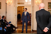 Australian actor Hugh Jackman walks onto the hall before being awarded with an Order of Australia by The Governor-General of Australia David Hurley at Government House on September 13, 2019 in Melbourne, Australia. Hugh Jackman was honoured for his service to the performing arts for his work as an advocate for poverty eradication.
