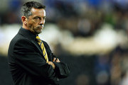 Phil Brown, manager of Hull City looks on during the Carling Cup Third Round match between Hull City and Everton at the KC Stadium on September 23, 2009 in Hull, England.