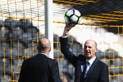 Match officials test the goal line technology prior to the Premier League match between Hull City and Leicester City at KCOM Stadium on August 13, 2016 in Hull, England.