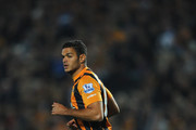 New Hull City signing Hatem Ben Arfa in action during the Barclays Premier League match between Hull City and West Ham United at KC Stadium on September 15, 2014 in Hull, England.