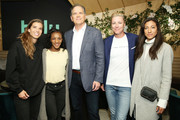(L-R) Tobin Heath, Crystal Dunn, Hulu CEO Randy Freer, Abby Wambach and Christen Press during the Hulu '19 Presentation at Hulu Theater at MSG on May 01, 2019 in New York City.