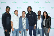 (L-R) RZA, Alex Tse, Brian Grazer, Dave East, Shameik Moore, and Francie Calfo attend the Hulu 2019 Summer TCA Press Tour at The Beverly Hilton Hotel on July 26, 2019 in Beverly Hills, California.