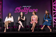 (L-R) Jordan Weiss, Kat Dennings, Brenda Song, and Shay Mitchell speak onstage during the Hulu 2019 Summer TCA Press Tour at The Beverly Hilton Hotel on July 26, 2019 in Beverly Hills, California.