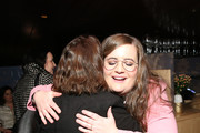 """(L-R) Rachel Dratch and Aidy Bryant greet each other as they attend Hulu's """"Shrill"""" New York Premiere at Film Society of Lincoln Center - Walter Reade Theater on March 13, 2019 in New York City."""
