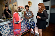 Elizabeth Moss, Samira Wiley and Julie Klausner attend the Hulu Uprfront Brunch at La Sirena Ristorante on May 3, 2017 in New York City.