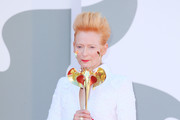 """Tilda Swinton walks the red carpet ahead of the movie """"The Human Voice"""" and """"Quo Vadis, Aida?"""" at the 77th Venice Film Festival at  on September 03, 2020 in Venice, Italy."""