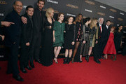 "(L-R) Jon Kilik, Josh Hutcherson, Liam Hemsworth, Jennifer Lawrence, Julianne Moore, Nina Jacobson, Patina Miller, Jena Malone, Natalie Dormer, Donald Sutherland, Sam Claflin, Stef Dawson and Sarita Choudhury atttend ""The Hunger Games: Mockingjay- Part 2"" New York Premiere at AMC Loews Lincoln Square 13 theater on November 18, 2015 in New York City."