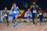 Richard Thompson of USA and Americas races toward sthe finish line as the Americas team wins the Mens 4x100m Relay during the IAAF Continental Cup Day 1 at the Stade de Marrakech on September 13, 2014 in Marrakech, Morocco.