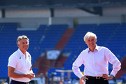 IAAF President, Sebastian Coe (L) and LOC & Czech Athletic Federation President, Libor Varhinak pose with the Continental Cup prior to the IAAF Continental Cup at Mestsky Stadium on September 7, 2018 in Ostrava, Czech Republic.
