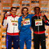 Gianmarco Tamberi Photos - (L-R) Silver medallist Robert Grabarz of Great Britain, gold medallist Gianmarco Tamberi of Italy and bronze medallist Erik Kynard of the United States pose on the podium during the medal ceremony for the Men's High Jump during day three of the IAAF World Indoor Championships at Pioneer Courthouse Square on March 19, 2016 in Portland, Oregon. - IAAF World Indoor Championships - Day 3