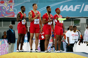 Justin Gatlin, Ryan Bailey, Tyson Gay, and Mike Rodgers of the United States stand on the podium after winning the final of the menÂ's 4 x 100 metres  on day one of the IAAF World Relays at Thomas Robinson Stadium on May 2, 2015 in Nassau, Bahamas.