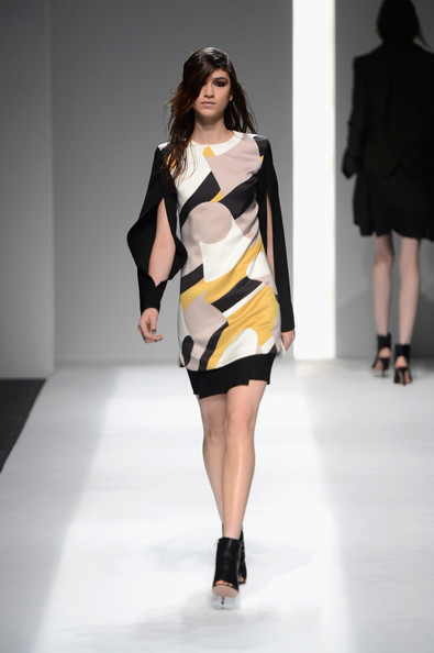 A model walks the runway at the ICB By Prabal Gurung Fall 2013 fashion show during Mercedes-Benz Fashion Week at The Studio at Lincoln Center on February 11, 2013 in New York City.