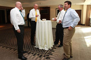Steve Davis, Trent Johnston, Tim May and Mark Taylor share a joke during the ICC Cricket Committee meeting at  Lord's Cricket Ground on May 30, 2012 in London, England.