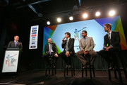 (L-R), Andrew Mulligan, John Key, Stephen Fleming, Waqar Younis and Grant Elliott take part in a panel discussion during the official launch of the ICC Cricket World Cup 2015 on July 30, 2013 in Wellington, New Zealand.
