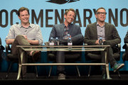 Creators Bill Hader, Seth Meyers and Fred Armisen of Documentary Now! attend the IFC summer 2015 TCA Panel at The Beverly Hilton Hotel on July 31, 2015 in Beverly Hills, California.