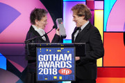 Laurie Anderson and Willem Dafoe speak onstage during IFP's 27th Annual Gotham Independent Film Awards at Cipriani, Wall Street on November 26, 2018 in New York City.