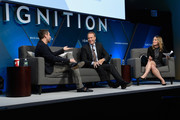 """Chris Hardwick, CEO and host of """"Nerdist"""" """"The The Awesome Show"""" and Robert Greenblatt, chairman of NBC Entertainment speak onstage with Alyson Shontell at IGNITION: Future of Media at Time Warner Center on November 29, 2017 in New York City."""