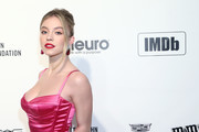 Sydney Sweeney walks the red carpet at the Elton John AIDS Foundation Academy Awards Viewing Party on February 09, 2020 in Los Angeles, California.