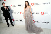 Paul Khoury and Ashley Greene walk the red carpet at the Elton John AIDS Foundation Academy Awards Viewing Party on February 09, 2020 in Los Angeles, California.