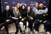 (L-R) Jack Lowden, Florence Pugh, Stephen Merchant, Paige, Lena Headey, Vince Vaughn, and Nick Frost of 'Fighting With My Family' attends The IMDb Studio at Acura Festival Village on location at The 2019 Sundance Film Festival - Day 4 on January 28, 2019 in Park City, Utah.
