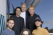 (L-R) Tanner Buchanan, Ralph Macchio, Martin Kove, William Zabka, Xolo Maridueña and Mary Mouser attend the #IMDboat at San Diego Comic-Con 2019: Day Two at the IMDb Yacht on July 19, 2019 in San Diego, California.