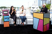 Rosa Salazar, Kate Purdy and Kevin Smith speak onstage at the #IMDboat at San Diego Comic-Con 2019: Day One at The IMDb Yacht on July 18, 2019 in San Diego, California.