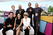(L-R) Diego Boneta, Mackenzie Davis, Natalia Reyes, Kevin Smith, Linda Hamilton, Gabriel Luna and Tim Miller attend the #IMDboat at San Diego Comic-Con 2019: Day One at The IMDb Yacht on July 18, 2019 in San Diego, California.