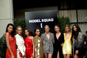 Ping Hue, Hannah Ferguson, Ashley Moore, Olivia Culpo, Devon Windsor, Nadine Leopold, Caroline Lowe and Shanina Shaik attends a screening and cocktail party for E! Model Squad at the Etihad VIP Lounge IMG NYFW: The Shows 2018 at Spring Studios on September 6, 2018 in New York City.