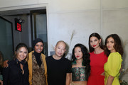 (L-R) Actor Erin Lim, IMG Model & UNICEF Ambassador, Halima Aden, Designer Jason Wu, Designer Kim Shui, IMG Model and Beauty Entrepreneur, Lily Aldridge and Actress Luna Blaise pose before the 'Meet E!'s Front Five' panel. Presented by VISA during NYFW: The Shows at Spring Studios on September 06, 2019 in New York City.