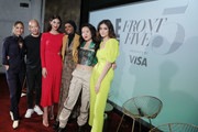 (L-R) Actor Erin Lim, Designer Jason Wu,  IMG Model and Beauty Entrepreneur, Lily Aldridge, IMG Model & UNICEF Ambassador, Halima Aden, Designer Kim Shui, and Actress Luna Blaise pose before the 'Meet E!'s Front Five' panel. Presented by VISA during NYFW: The Shows at Spring Studios on September 06, 2019 in New York City.
