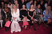 (L-R) Leslie Jones, Heidi Klum, Rachel Bilson, Alexa Chung, Indya Moore and Zhavia Ward sit front row at the Christian Siriano Fall Winter 2020 show during New York Fashion Week: The Shows at Spring Studios on February 06, 2020 in New York City.