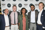 (L-R) IVY Founder Beri Meric, managing supervisor at FleishmanHillard Scott Durday, vice president at FleishmanHillard Guia Golden, communications manager at General Motors / Cadillac Eneuri Acosta and IVY founder Philipp Triebel attend the IVY Los Angeles innovator dinner presented by Cadillac and IVY at A.O.C on April 15, 2015 in Los Angeles, California.