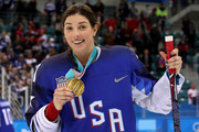 Gold medal winner Hilary Knight #21 of the United States celebrates after defeating Canada in a shootout in the Women's Gold Medal Game on day thirteen of the PyeongChang 2018 Winter Olympic Games at Gangneung Hockey Centre on February 22, 2018 in Gangneung, South Korea.