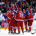 Ilya Kovalchuk Alexander Ovechkin Photos - Ilya Kovalchuk #71 of Russia celebrates scoring a goal in the second period with Alexander Ovechkin #8 and Andrej Markov #79 against Slovenia during the Men's Ice Hockey Preliminary Round Group A game on day six of the Sochi 2014 Winter Olympics at Bolshoy Ice Dome on February 13, 2014 in Sochi, Russia. - Winter Olympics: Ice Hockey