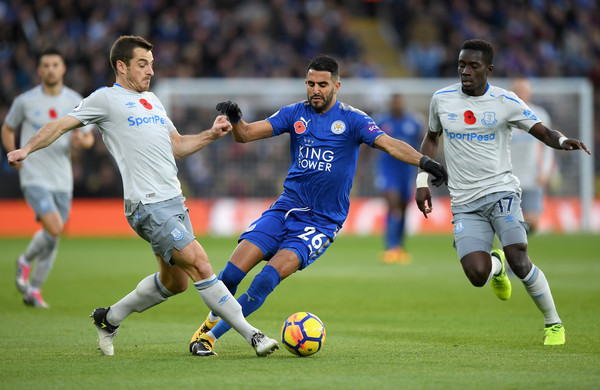 Leicester City v Everton - Premier League [player,sports,sports equipment,sport venue,football player,soccer player,team sport,ball game,football,soccer,riyad mahrez,idrissa gueye,leighton baines,v,the king power stadium,leicester,everton,leicester city,premier league,match]
