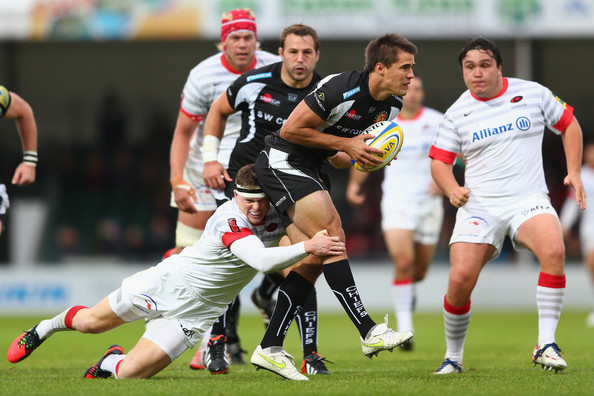 Ignacio Mieres Ignacio Mieres (C) of Exeter Chiefs looks to offload  as Chris Ashton of Saracens holds on during the Aviva Premiership match between Exeter Chiefs and Saracens at Sandy Park on September 23, 2012 in Exeter, England.