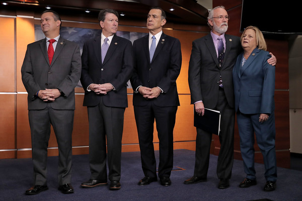 House Republicans Hold News Conference Encouraging Legislative Action on DACA [suit,formal wear,event,tuxedo,white-collar worker,official,businessperson,team,daca,don bacon,scott taylor,dan newhouse,ileana ros-lehtinen,darrell issa,action,r,house,republicans hold news conference]