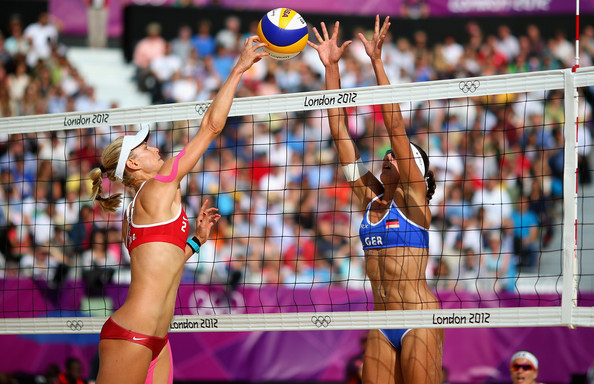 Ilka Semmler Sara Goller of Germany is blocked by Ilka Semmler of Germany during the Women's Beach Volleyball Round of 16 match between Germany and Germany on Day 7 of the London 2012 Olympic Games at Horse Guards Parade on August 3, 2012 in London, England.
