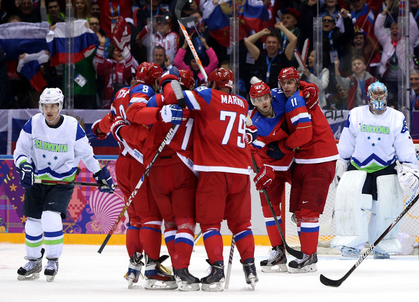 Winter Olympics: Ice Hockey  [sports,ice hockey,hockey protective equipment,college ice hockey,team sport,sports gear,hockey,player,ice hockey equipment,tournament,ilya kovalchuk,andrej markov,alexander ovechkin 8,ice hockey,goal,russia,slovenia,bolshoy ice dome,winter olympics,sochi 2014 winter olympics]
