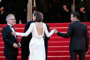 """Actors Jeremy Renner, Marion Cotillard and director James Gray attend """"The Immigrant"""" Premiere during the 66th Annual Cannes Film Festival at Grand Theatre Lumiere on May 24, 2013 in Cannes, France."""