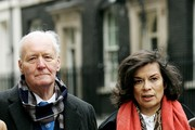 Tony Benn and Bianca Jagger deliver a letter to Prime Minister Gordon Brown protesting about the wars in Afghanistan and Iraq at 10 Downing Street on Frebruary 15, 2008 in London, England.  They are joined by a Stop The War Coalition delegation which includes the oldest (103 years) and youngest (5 years) marchers from the 2003 demonstration.