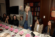 (L-R) Elisa Sednaoui, Elizabeth Stewart, Caitriona Balfe, Zoey Deutch, Laura Brown, Michelle Dockery, and Niki Caro attend the InStyle Badass Women Dinner Hosted By Laura Brown & Sponsored By Secret at Sunset Tower on January 28, 2020 in West Hollywood, California.