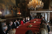 Chairmen of the Senate and the House and other ministers sign the Act of Abdication after Queen Beatrix of the Netherlands (9th-L), Prince Willem-Alexander of the Netherlands (10th-L) and wife Princess Maxima of the Netherlands (11th-L) during the abdication ceremony in the Moseszaal at the Royal Palace on April 30, 2013 in Amsterdam. Queen Beatrix of the Netherlands is abdicating the throne after a 33 year reign and hands the throne to her son Prince Willem-Alexander who will be sworn in later at the Nieuwe Kerk ahead of a joint session of parliament.