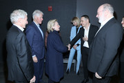 """(L-R) Sir Ronald Cohen, Bill Clinton, Hillary Clinton, Ron Leshem and Yaron Zilberman attend a special screening of """"Incitement"""" at The Landmark at 57 West on February 01, 2020 in New York City."""