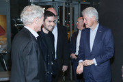 "(L-R) Sir Ronald Cohen, Jonny Cohen and Bill Clinton attend a special screening of ""Incitement"" at The Landmark at 57 West on February 01, 2020 in New York City."