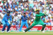 Shoaib Malik of Pakistan in action during the ICC Champions trophy cricket match between India and Pakistan at The Oval in London on June 18, 2017