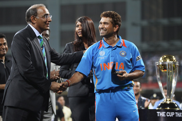 Sachin Tendulkar (R) of India receives his winners medal from Haroon Lorgat (L) Chief Executive of ICC during the 2011 ICC World Cup Final between India and Sri Lanka at Wankhede Stadium on April 2, 2011 in Mumbai, India.