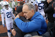 Head Coach Chuck Pagano of the Indianapolis Colts and Head Coach Marvin Lewis of the Cincinnati Bengals share a moment after their game at Paul Brown Stadium on October 29, 2017 in Cincinnati, Ohio.  The Bengals defeated the Colts 24-23.
